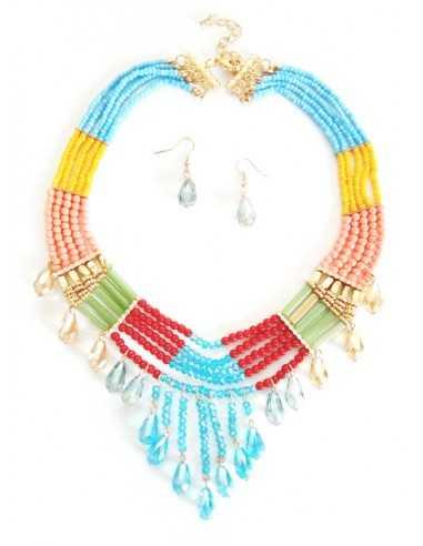 Parure collier perles couleurs multirangs 40 cm & boucles d'oreilles