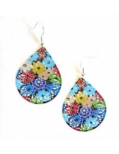 Boucles d'oreilles fantaisie gouttes motif fleurs 5 cm