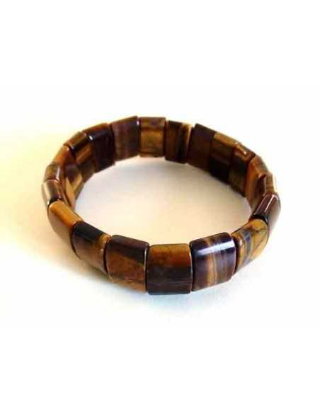 Bracelet oeil de tigre pierres carrées