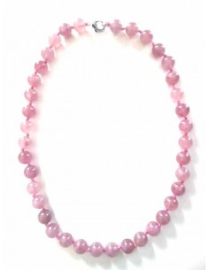 Collier quartz rose lavande pierres boules 1 cm