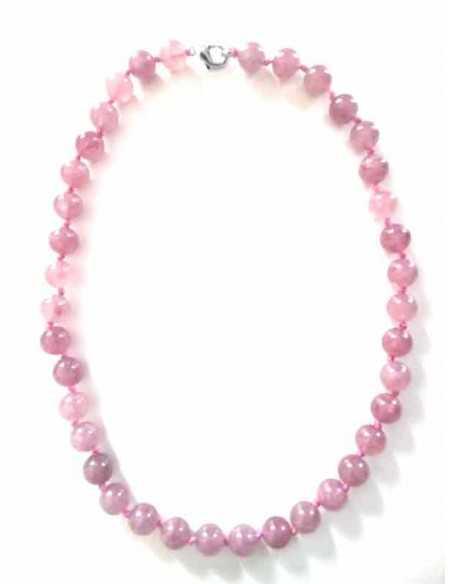 Collier quartz rose lavande pierres boules 10 mm