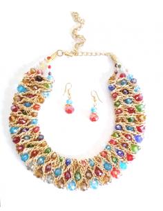 Parure ras de cou 3 rangées perles cristal facettées & boucles d'oreilles