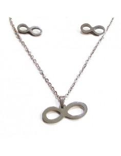 Parure infini acier collier & boucles d'oreilles pendentif