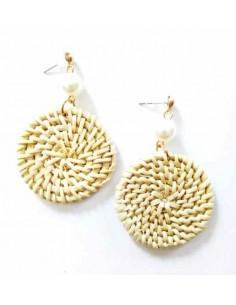 Boucles d'oreilles tissées à la main au fil de bambou rondes 4 cm