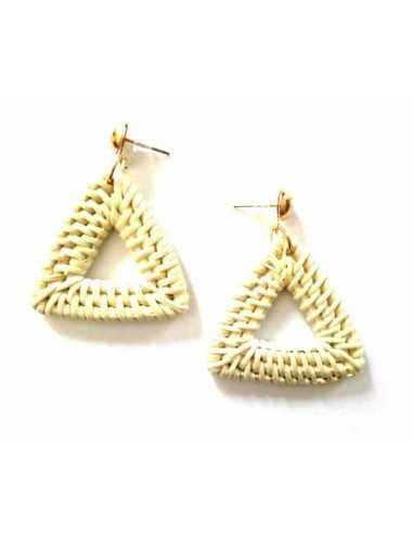 Boucles d'oreilles tissées à la main au fil de bambou triangles 4 cm