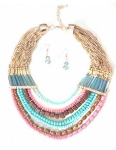 Collier parure multirangs fantaisie perles