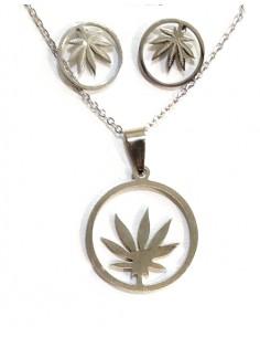 Parure feuille de cannabis acier collier pendentif & boucles d'oreilles
