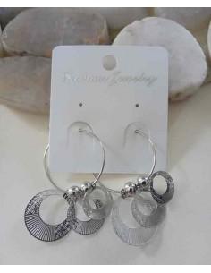 Boucles d'oreilles créoles avec anneaux filigranes suspendus