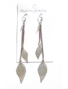 Boucles d'oreilles pendantes double feuilles filigrane 7 cm