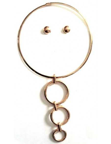 Collier parure ras de cou pendentif triple anneaux