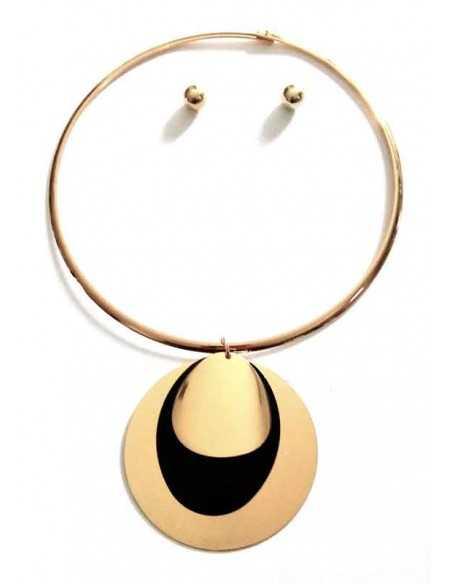 Collier parure rigide pendentif bi-colore