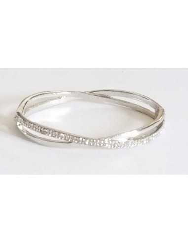 Bracelet jonc doubles anneaux serti métal rhodié