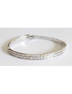 Bracelet jonc doubles rangs serti métal rhodié