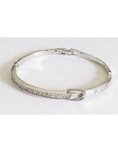Bracelet jonc motif ceinture serti métal rhodié