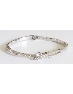Bracelet jonc fantaisie serti métal rhodié