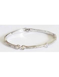 Bracelet jonc infini serti métal rhodié