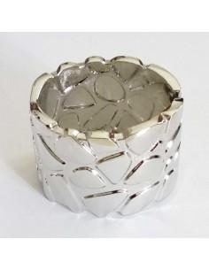 Bracelet manchette métal rigide large motifs léopard