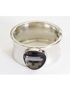 Bracelet manchette métal large médaillon cristal