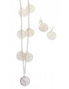 Sautoir fantaisie pendentifs arbre de vie avec boucles d'oreilles