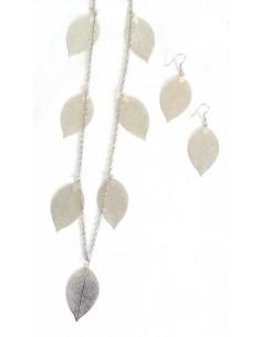 Sautoir fantaisie pendentifs feuilles avec boucles d'oreilles