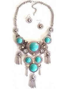 Parure collier bohème turquoises d'imitation serties