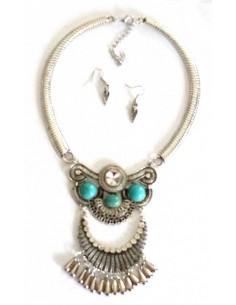 Parure collier médaillons turquoises style ethnique chic
