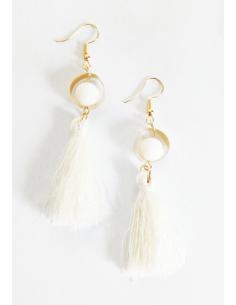 Boucles d'oreilles pompon fantaisie pendantes 6 cm