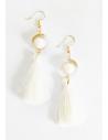 Boucles d'oreilles fantaisie pendantes pompon 6 cm