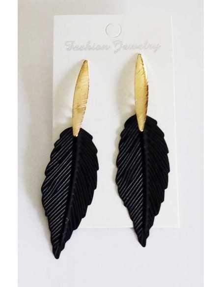Boucles d'oreilles plumes fantaisie graphiques