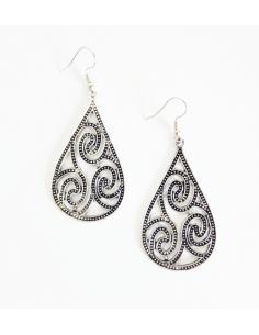 Boucles d'oreilles gouttes métal vieilli motif oriental 5 cm