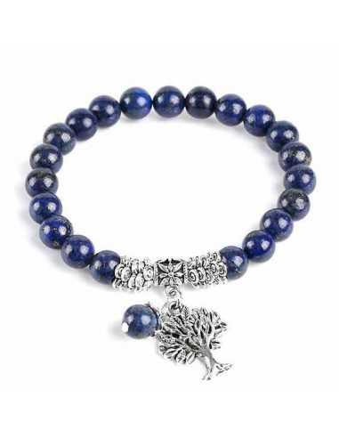 Bracelet lapis-lazuli boules 8 mm et pendentif arbre de vie