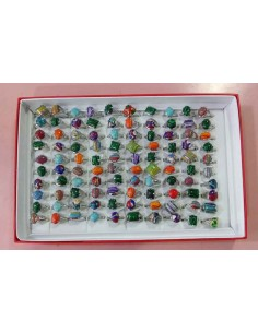 100 bagues pierres fantaisie motifs graphiques