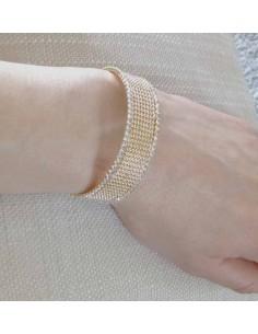 Bracelet manchette fin serti de strass
