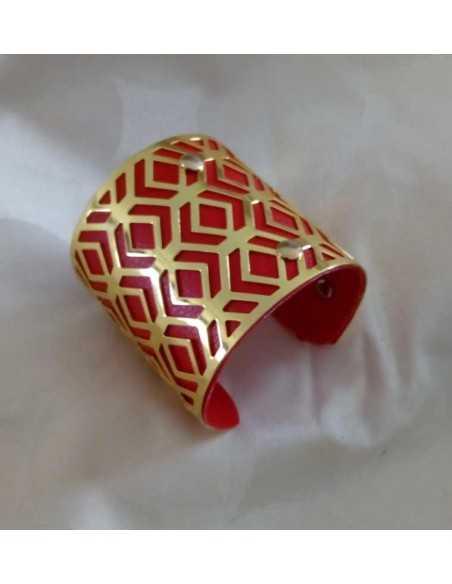 Bracelet manchette géométrique et insert simili cuir