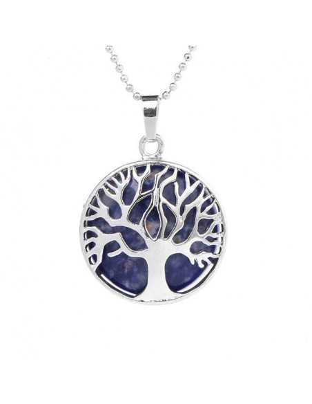 Collier lapis-lazuli pendentif arbre de vie