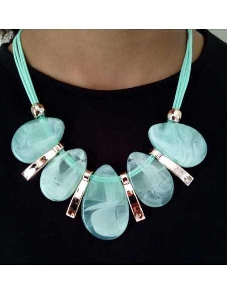 Collier court style plastron grosses perles gouttes