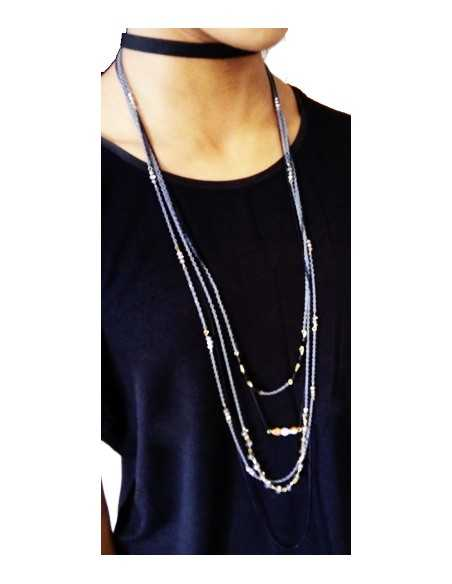 Collier sautoir ruban & multi-chaînes perles fantaisies 104 cm