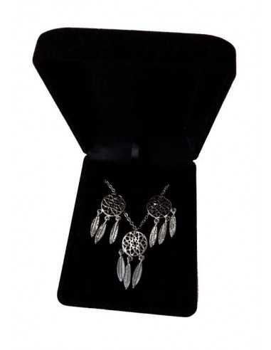 Parure en coffret collier pendentif Attrape rêves & boucles