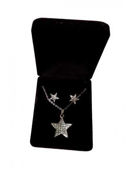 Parure en coffret collier pendentif étoile sertie & boucles d'oreilles