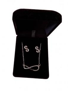 Parure en coffret collier pendentif infini serti & boucles