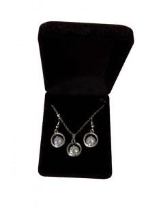 Parure en coffret collier pendentif anneau serti & boucles