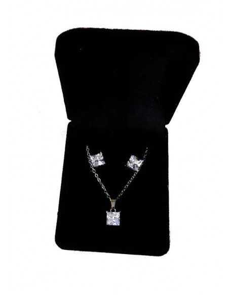 Parure en coffret collier pendentif zircon cubique & boucles