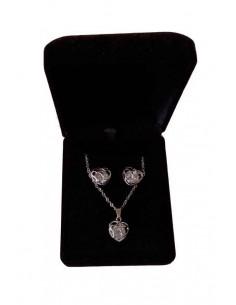 Parure en coffret collier pendentif coeur filigrane & boucles d'oreilles