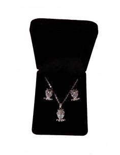 Parure en coffret collier pendentif hiboux sur zirconium & boucles