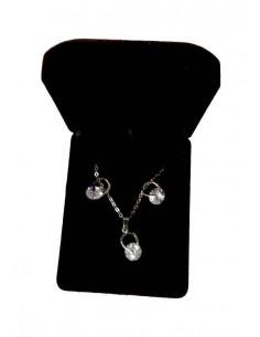 Parure en coffret collier pendentif perle diam's & boucles