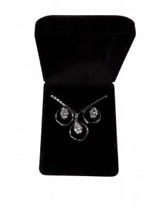 Parure en coffret collier pendentif anneau difforme serti & boucles