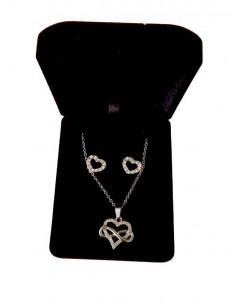 Parure en coffret collier pendentif infini coeur serti & boucles