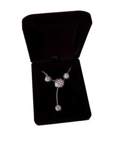 Parure en coffret collier pendentif perle sertie pendante & boucles