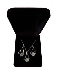 Parure en coffret collier pendentif coeur zircon incrusté et boucles