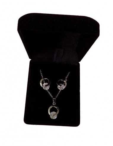 Parure en coffret collier pendentif boucle zircon incrusté et boucles
